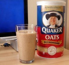 I make these all the time and they are wonderful and filling. Add 3/4 cup of quick oats (more or less depending on the desired texture), a cup or so of milk, a banana, and about two ice cubes. I will often add peanut butter as well, and it may also be good to add a scoop of protein powder. Grind thoroughly (less thoroughly if you want chunkier oatmeal).