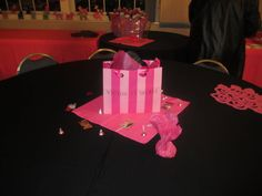 Victoria Secret Bags as Centerpieces w/ Balloon's coming out. Sweet 16
