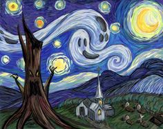 Starry Fright- a Post Impressionist How-To - halloween art - halloween art drawing - halloween art painting Halloween Painting, Halloween Art, Halloween Themes, Halloween Canvas Paintings, Halloween Night, Classy Halloween, Halloween Witches, Happy Halloween, Halloween Decorations