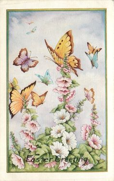 Easter~Lavender Yellow Blue Butterflies~Pink White Hollyhocks~Emboss~Whitney Made