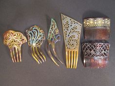 Collection 6 C 1925 Jewelled Hair Combs Celluloid Tortoise Shell Deco Nouveau   eBay