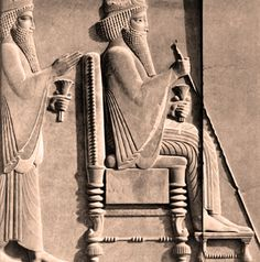 Detail of Xerxes I and Darius I from Darius I Receiving a Median Dignitary Relief Sculpture