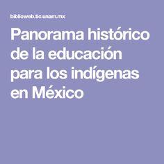 Panorama histórico de la educación para los indígenas en México