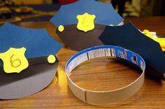 diy police hats & more party ideas Diy Lego, Police Crafts, Police Hat, Kids Police Officer Costume, Police Officer Crafts, Community Helpers Preschool, Lego Birthday, Construction Paper, Preschool Crafts
