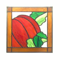 October 12 X 12 Stained Glass Pumpkin Quilt Block by GommStudios