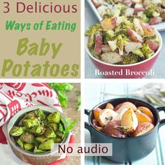 3 Baby Potato Recipes 3 Quick and easy roasted baby potato recipes for a dinner side or a quick lunch Baby Potato Recipes, Sweet Potato Baby Food, Roasted Potato Recipes, Oven Roasted Baby Potatoes, Boiled Baby Potatoes, Bombay Potato Recipe, Pesto Recipe, Dinner Menu, Casserole Dishes
