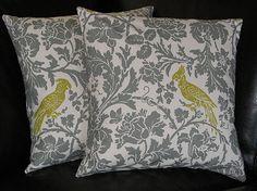 Pillow Barber Bird EUROS 26 inch gray by LittlePeepsHomeDecor, $55.00
