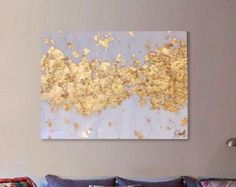 Gold Leaf Art, Gold Leaf and White Metallic Abstract Painting with Resin Coat
