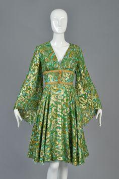 60s Fred Perlberg Metallic Silk Brocade Dress w/Angel Sleeves   BUSTOWN MODERN