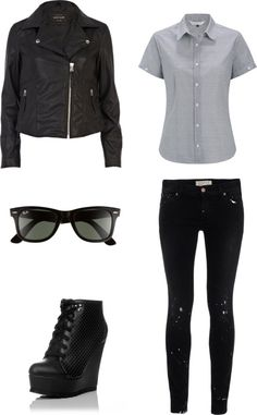 """Outfit inspired by Super Junior Heechul in """"Mr Simple"""" More Outfit on I Dress Kpop Get The Look: Leather Jacket Sunglasses Black Wedge Sneakers Blue-Gray Shirt Splattered Jeans"""