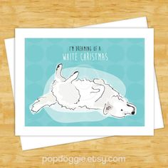 Dog Christmas Cards - Great Pyrenees Dreaming of a White Christmas - Dog Holiday Funny Christmas Cards #afflink