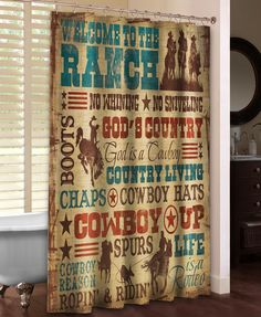 Welcome to the Ranch Shower Curtain from Laural Home. Shop more products from Laural Home on Wanelo. Cowboy Bathroom, Western Bathroom Decor, Western Bathrooms, Western Decor, Country Decor, Rustic Decor, Country Life, Western Style, O Cowboy