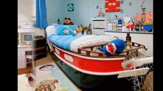 ace children's pirate bedroom with boat bed