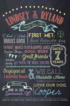 OMG love this! Might have to get one of these! Customizable Printable Wedding Couple Chalkboard Poster on Etsy, $57.95