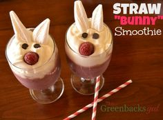 Fruity and Creamy Bunny Smoothie that's perfect for an Easter breakfast or dessert!