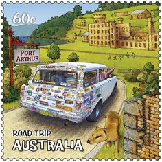 """The """"grand tour"""" of the 17th and 18th centuries was an educative tour of Europe for young gents from the ruling class, and, in preceding centuries, the pilgrimage was fuelled by religious observance rather than scholarly and cultural needs. This #stamp shows Port Arthur, an impressive reminder of our grim past"""