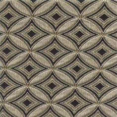 This gorgeous black, gold, and taupe colored fabric will certainly add a touch of formal class to any decor. Diamond shapes enclosed by circles give the fabric a rich texture that is suitable for headboards, couches, ottomans, chairs, cushions and decorative pillows. The neutral colors will help this fabric blend seamlessly into any room of your home.v117APFR