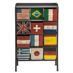 This would so be in my house. I'm a traveler! | Flags 12 Drawer Cabinet by ACHICA.
