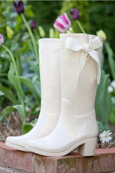 Weddington Boots - just in case the rain tries to ruin your wedding day. Super cute but i would probably just take off my shoes then. Wedding Boots, Ivory Wedding, Bride Boots, Wedding Wear, Rustic Wedding, Trendy Wedding, Wedding Styles, Perfect Wedding, Festival Themed Wedding