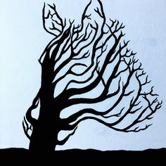 Double Exposure Painting Silhouette Tree Blowing in the Wind Zebra