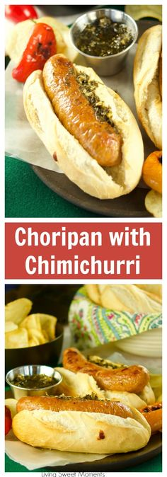 Juicy and delicious grilled Choripan, aka Chorizo Hot Dogs served with chimichurri sauce. The perfect food for parties and celebrations. Dog Recipes, Other Recipes, Mexican Food Recipes, Cookbook Recipes, Family Recipes, Chorizo, Summer Grilling Recipes, Summer Recipes, My Favorite Food