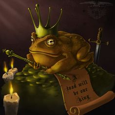 "King Toad - Art-by-Edum / artist statement: Classical Kind Toad, Inspiration from the song ""The Frog Prince"" by Keane. Photoshop CS4 I was planing on making a speed video drawing this, but i forgot to record it."