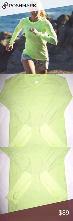 """LULULEMON Swiftly Tech Neon Gym Long Slv THUMB Top HARD TO FIND COLOR!    SIZE S?  BUST: APPROX. 34""""  LENGTH: 25.5""""  condition: NEW WITHOUT TAG. lululemon athletica Tops Tees - Long Sleeve"""