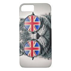 Funny hipster cat UK flag glasses photo iPhone 8/7 Case - photo gifts cyo photos personalize