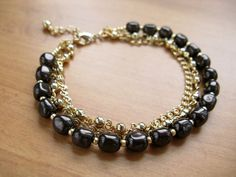 Layered Gold Chain Bracelet with Dark by SamanthaMelloJewelry