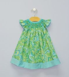 Smocked Paisley Bishop-Classic Vive La Fete geometric hand smocked angel wing bishop on  lime green and aqua paisley.  Button back closure. Angel wing sleeve.  Contrasting mini check details on neck, sleeve and  around hem. Mid-calf length.-https://www.vivelafete.com/newborn/smocked-paisley-bishop-3.html