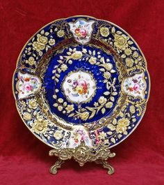 "EARLY ANTIQUE COALPORT PLATE ""NEW EMBOSSED"" PATTERN,  HAND-PAINTED & GILT, C1815 #DessertPlates"