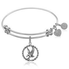 Expandable Bangle in White Tone Brass with American Eagle Charm Symbol