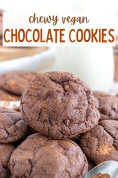 These easy vegan chocolate cookies are so rich and decadent! The best indulgent dairy free cookie recipe with simple ingredients. #veganchocolatecookies #veganchocolatebrowniecookies #veganchocolatedesserts #browniecookies #chocolatebrowniecookies Healthy Vegan Desserts, Vegan Dessert Recipes, Delicious Vegan Recipes, Raw Food Recipes, Cookie Recipes, Vegan Chocolate Brownies, Chocolate Recipes, Vegan Comfort Food, Dairy Free
