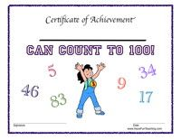 Award Certificate - Count to 100 - Have Fun Teaching