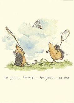 badminton by Anita Jeram Art And Illustration, Anita Jeram, Hedgehog Art, Cute Drawings, Cute Art, Illustrators, Cute Pictures, Character Design, Sketches