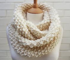 Chunky Cream Cowl in Moss Stitch  Meringue by KnitFrekkles on Etsy, $73.00