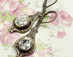 Crystal bridal earrings art nouveau brass 1920's dangle antique brass bronze jewel floral rhinestone