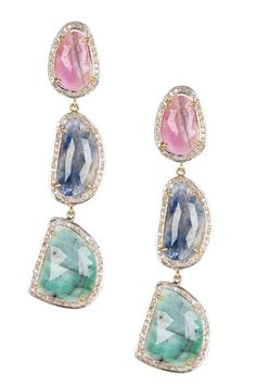 Natural Sapphire Halo Triple Drop Earrings by Forever Creations USA Inc. on @HauteLook