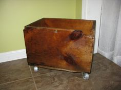 Antique Wooden Box On Caster Wheels, Old Barn Box, Refinished Wood, Antique Box…