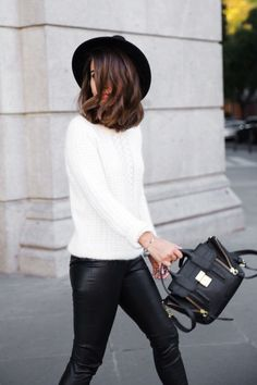 Fashion Indie In Top From IKKS, Leggings From Zara, Hat From Bershka, And Bag From 3.1 Phillip Lim