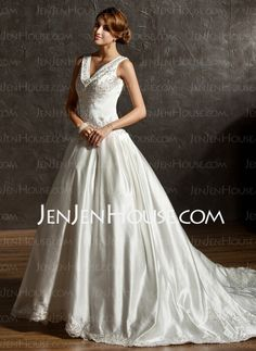 Wedding Dresses - $205.69 - Ball-Gown V-neck Chapel Train Satin Wedding Dress With Embroidery Beadwork Sequins (002011506) http://jenjenhouse.com/Ball-Gown-V-Neck-Chapel-Train-Satin-Wedding-Dress-With-Embroidery-Beadwork-Sequins-002011506-g11506