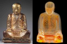 Scientists uncovered a 1,000 year old Buddha statue that actually contains human remains inside: http://inhabitat.com/buddhist-monk-may-have-volunteered-to-be-mummified-in-1000-year-old-buddha-statue/