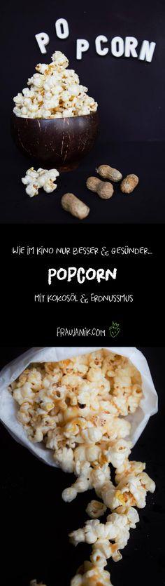 Popcorn!!! In Zeiten von Netflix ist das doch ein super Snack! Und dieser ist sogar gesünder als der im Kino!! Und sooo leecker mit dem Kokosöl und dem Erdnussmus :-) Unbedingt beim nächsten Kinoabend Zuhause ausprobieren!