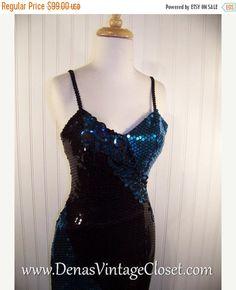 50% OFF SALE Vintage 80s Black Teal Sequins Prom Party Cocktail Wiggle Dress sz S