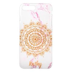 Faux gold mandala on pink and white marble iPhone 8 plus/7 plus case - pink gifts style ideas cyo unique