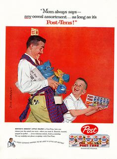 Post Tens cereal - FatherSon - Magazine Ad - 1957 - Dick Sargent art