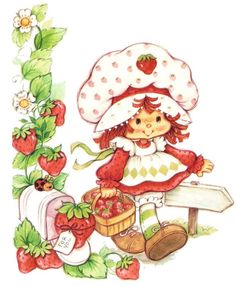 Strawberry Shortcake Fabric Panel | strawberry shortcake fabric block look at this adorable fabric block ...