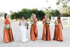 Orange bridesmaids dresses for a fall wedding   By Goddess By Nature #bridesmaids #wedding #weddingforward #weddingstyle #2017 #dresses