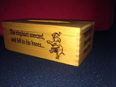 """The Animal Fair """"The elephant sneezed and fell to his knees...""""  - woodburnt tissue box design"""