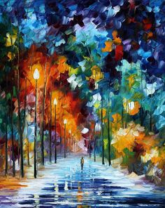 "Romantic Winter — PALETTE KNIFE Modern Art Abstractive Landscape Oil Painting On Canvas By Leonid Afremov - Size: 24"" x 30"" (60 cm x 75 cm)"